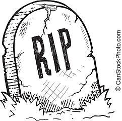 Halloween tombstone sketch - Doodle style tombstone with RIP...