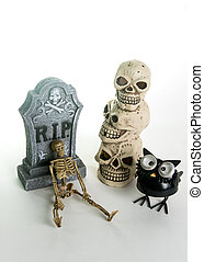 Halloween Tombstone & Skulls Decoration