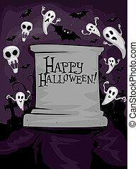 Halloween Tombstone - Halloween Design Featuring a...