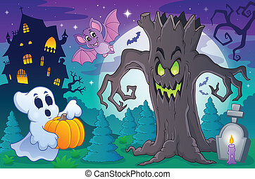 Halloween topic scene 6 - eps10 vector illustration.