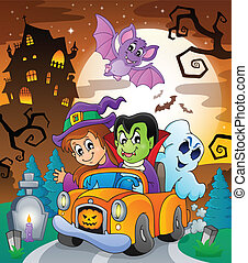 Halloween topic scene 7 - eps10 vector illustration.