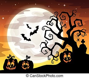 halloween, träd, silhuett