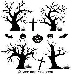 halloween, träd, slagträ, spindlar