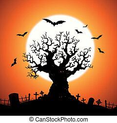 halloween, träd