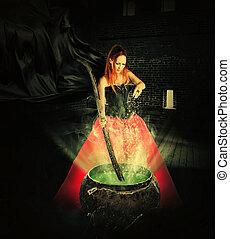 halloween, trank, magisches, brauen, hexe