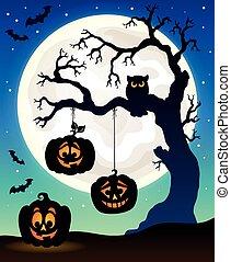 Halloween tree silhouette theme 5