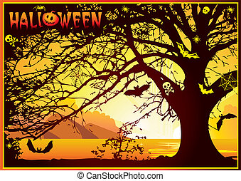 Sinister halloween tree. Vector art-illustration on a orange background.
