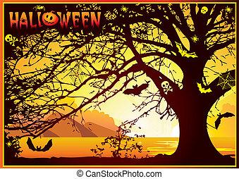 Halloween tree. - Sinister halloween tree. Vector art-...