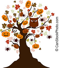 Halloween Tree - Illustration of a Halloween Tree with an...