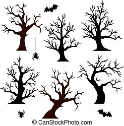 Halloween trees, spiders and bats