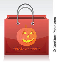 Halloween trick or treat bag illustration design