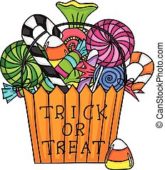 Halloween trick or treat bag filled with candies - Scalable...