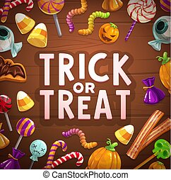 Halloween trick or treat candies and sweets card
