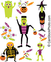 Halloween Trick or Treat - Illustration of cartoon...