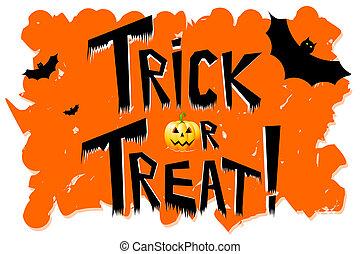 "Halloween - ""trick or treat!"", bats."