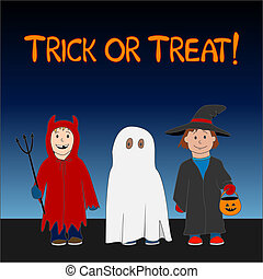 Trick or Treat - Halloween Trick or Treat illustration with...