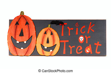 Halloween image with pumpkins that says Trick or Treat