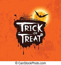 Halloween trick or treat message on orange background, ...