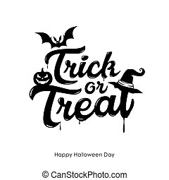 Halloween Trick or treat message vector, and bat pumpkin ...