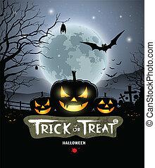 Halloween trick or treat pumpkin design background, vector...