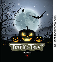 Halloween trick or treat pumpkin design background, vector...