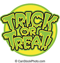 Halloween Trick Or Treat sign with a full moon clip art