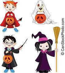 Halloween trick or treating childr - Children wearing...