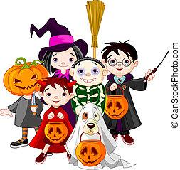 Halloween children trick or treating in Halloween costume