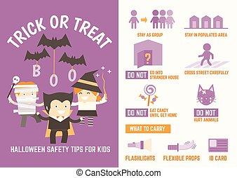 halloween, truco, seguridad, gusto, puntas, o