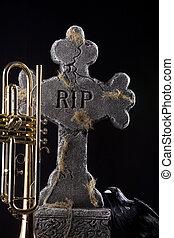 Halloween Trumpet Grave Crow