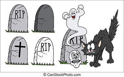 halloween, tumba, vectos