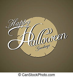 halloween, typografia, szczęśliwy
