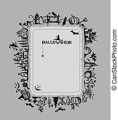 halloween, ułożyć, projektować, twój