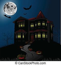 halloween, uczęszczany dom