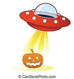 halloween, ufo, dynia, guzik