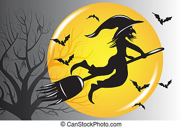 Halloween Ugly Witch Silhouette Vector
