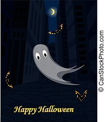 Halloween urban scene with ghost and bats