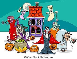 halloween, vacanza, cartone animato, caratteri, gruppo