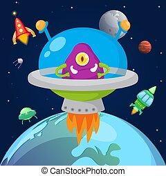 halloween, vaisseau spatial, vecteur, une, planètes, ...