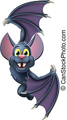 A cute Halloween vampire bat animal cartoon character peeking around from behind a sign and pointing at it with their wing