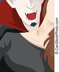 Halloween Vampire Bite Neck - Halloween Illustration of a ...