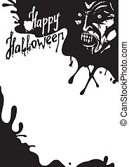 halloween, vampire, carte, salutation