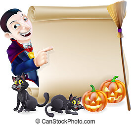 Halloween Vampire Dracula Scroll
