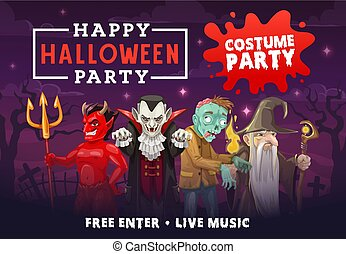 Halloween vampire, dracula, zombie, devil, wizard