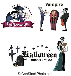 Halloween vampire in coffin, Draculas monster in cloak flat vector illustrations, good for goth party invitation or flyer, greeting card