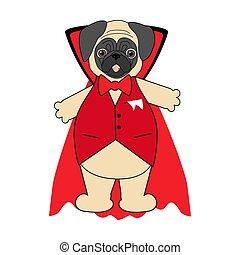 Halloween vampire pug illustration