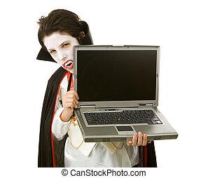 Halloween Vampire with Laptop