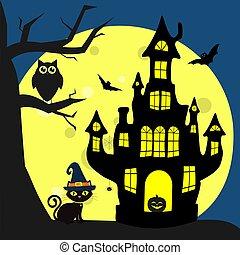 halloween., vampyrer, fulde, witchs, halloween, edderkop, flyve, house., ugle, næste, træ, s, kat, heks, stjerner, det sidder, hat, måne, night., glade