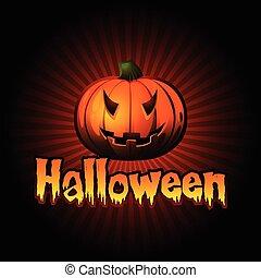 halloween, vec, scheda, zucca