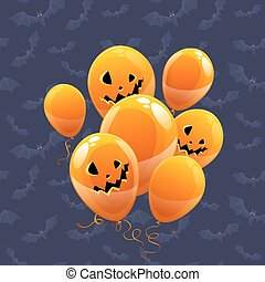 halloween, vecteur, ballons